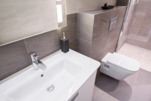 Modern beige bathroom interior - view from above
